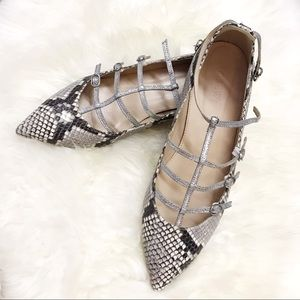 Jcrew Glitter Caged Flat in Snakeskin